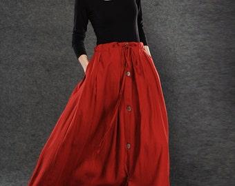 Red Linen Skirt - Maxi Skirt Long Women's Skirt Simple Design Versatile Handmade Clothing C055
