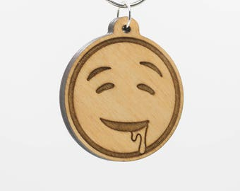 Drooling Face Emoji Keychain - Drooling Emoji Carved Wood Key Ring - Drooling Face Emoji Wooden Engraved Charm - Drool Dripping Emoji