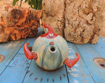 Elf Teapot in enamelled stoneware red and turquoise