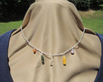 Dainty chain necklace with small wire wrapped stone pendants