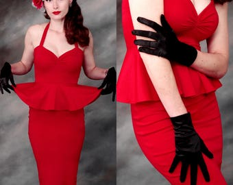 Couture Red 1950s Pencil Dress, Cocktail Party Evening Gown with Peplum Ruffle, Retro 50s Halter Dress