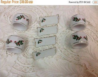 On Sale Set of Four  Vintage Holiday Napkin Rings and Place Cards Holly Napkin Rings Christmas Napkin Rings Japan
