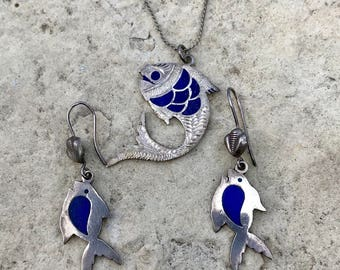 Antique GF Blue Fish Necklace and Earrings Set