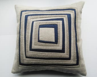 Pillow  Quilted Pillow Case Designers Pillow Case Linen Pillow Case Patchwork Pillow Cover Cushion Cover Pillow Cover Padded Pillow Case