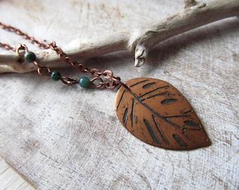 tiny copper monstera leaf necklace/pendant leaf of monstera/ rustic pendant copper