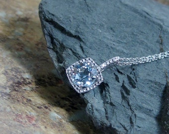 Blue Topaz  Diamond Pendant Sterling Silver Necklace - Made to Order