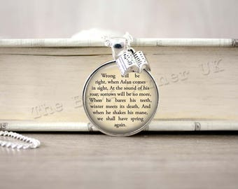Narnia, 'Wrong Will Be Right When Aslan Comes In Sight...' Aslan Necklace, Chronicles of Narnia Key Ring, C S Lewis Keychain