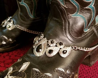 Silver and Black Boot Bracelet
