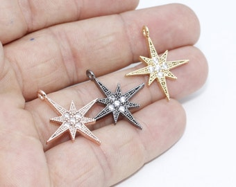 1 Pcs Cz North Star Charms, Micro Pave North Star Pendant, Cubic Zirconia North Star, Mini Star Charms, zrcn
