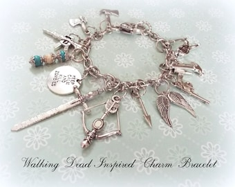 Walking Dead Fan Gift, Walking Dead Charm Bracelet, Gift for Walking Dead Fan, Walking Dead Gift, Walking Dead Jewelry, The Walking Dead