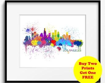 Los Angeles Watercolor Skyline Splash Art Print (509) Cityscape California