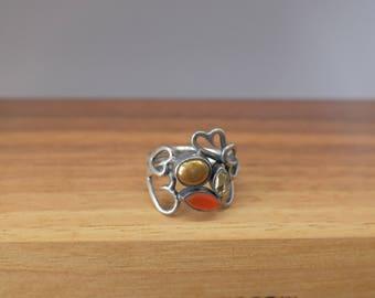 Vintage Rabinovich Danish Scandinavian Sterling Silver Ring w/ Hearts and Stones