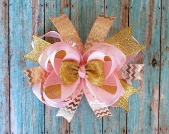 pink and gold hair bow-gold and light pink bow-gold hair bow-layered pink gold bow-gold glitter hair bow-large pink and gold hair bow-gold