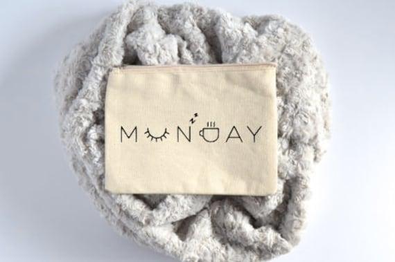 Canvas Cosmetic Bag: Monday, Sleep, Coffee - Makeup Bag