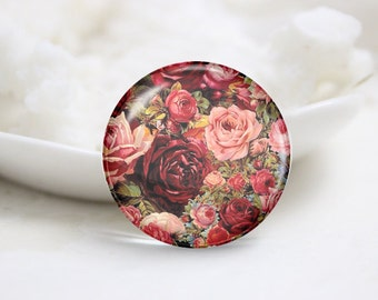 Handmade Round Flowers Photo Glass Cabochons (P3673)