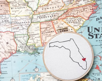 Custom State Embroidery - Hometown Cross Stitch - Hometown Pride