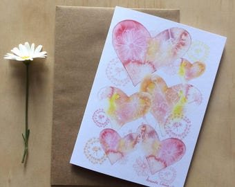 Valentines Greeting Card Hearts & Daisies