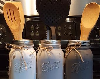 Mason jar utensil holder, Farmhouse kitchen, Kitchen storage, Utensil storage, Rustic kitchen holder