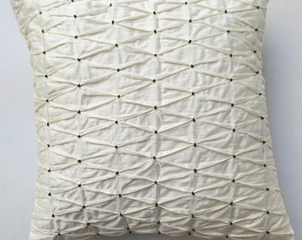 Off white  pleated pillow.  Decorative throw pillow cover. with black beads. textured  pillow in linen. Custom made