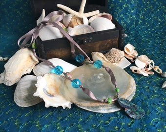 mermaid abalone shell and ribbon necklace, mermaid collection