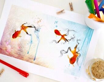 Special Edition Goldfish Print, Fantasy Art Print, Nursery decor, Home Decor - A4. 29.6 x 20.7 cm.