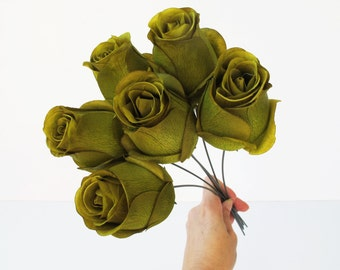 """11 Roses Green Artificial Silk Flowers Rose 2.2""""x 4"""" Floral DIY Wedding Hair Accessories Flower Supply Faux Fake Wedding Snabby Chic"""