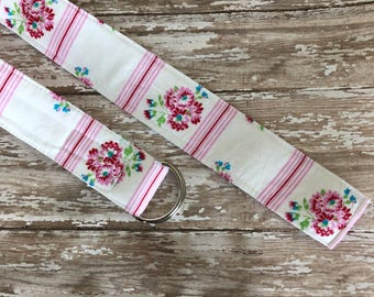 PERFECT GIFT - Fabric Belt - D Ring - Tanya Whelan - Vintage Roses - Made in ANY Size - Boutique Mia
