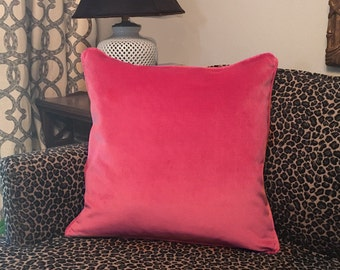 "20"" Velvet Throw Pillow Cushion Cover in Dragon Fruit Pink with Piping & Hidden Zipper Fabric Sample available"