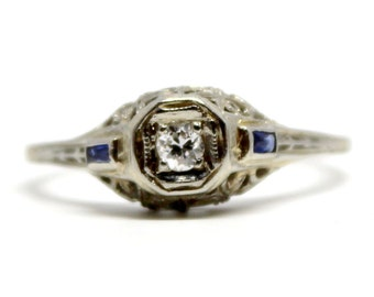 Antique White Gold Filigree Diamond Ring, with two bagette sapphire accents Vintage Engagement Ring