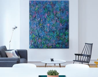 """Pamela Rys - TRAPPIST-1f 47"""" x 36"""" - 120 x 100 CM highly textured original painting - large abstract landscape by Pamela Rys"""
