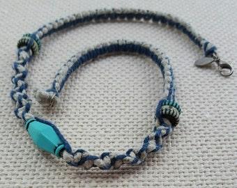 Turquoise and Blue Hemp Necklace, Natural Hemp, Handmade Jewelry