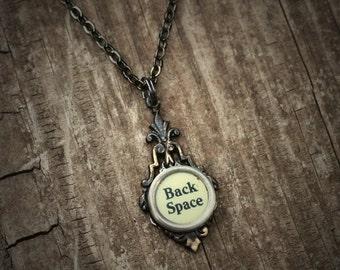 Back Space Necklace, Writer Gift, Vintage Typewriter Pendant,Teacher Necklace,
