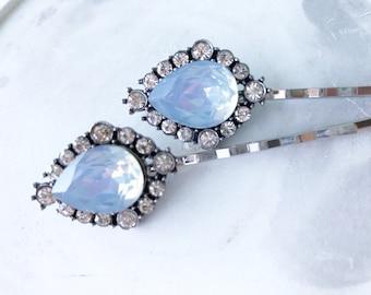 Hair pins, ice blue and rhinestone vintage style hair pins