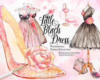Fashion Clipart Watercolor Floral Illustration French Mannequin Parfume Vintage Dress 50s Diamonds Shoes Bridal Shower Handpainted DIY Pack