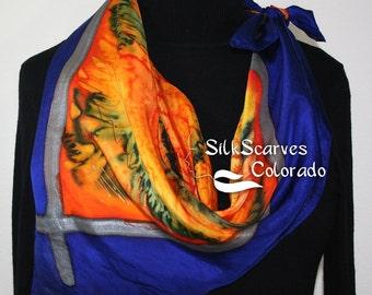 Silk Scarf Hand Painted. Orange, Blue Hand Dyed Silk Shawl TIGRESS GIRL. Extra-Large 35x35 Square. Silk Scarves Colorado. Birthday Gift.