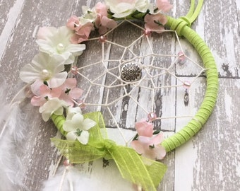 "3"" Lime Green & Floral Dreamcatcher"