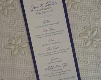 Purple Wedding Menu, Purple And Silver Wedding Menu, Purple Menu, Purple And Silver Menu, Purple And Silver Wedding Menus, Purple Menus