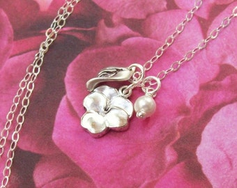 Silver Pansy Necklace, Tiny Flower Necklace, sterling silver, leaf, rhodium, swarovski pearl, matte, summer, pansy blossom, garden flowers
