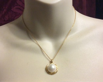 Vintage imitation pearl domed cabochons necklace earrings set.