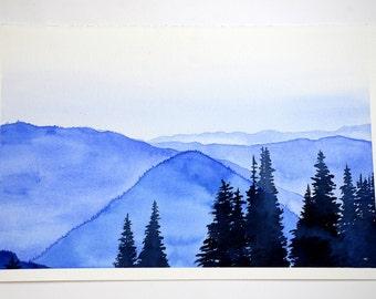 """Blue Mountains Landscape 11"""" x 17"""" Watercolor Illustration"""