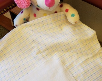 Receiving blanket in pastel plaid