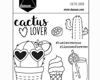 """Cactus Lover"" acrylic stamps"