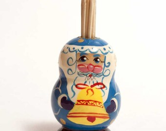 Toothpick Holder Santa in Blue