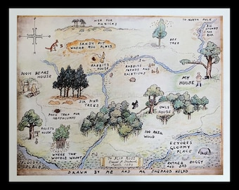 Map of 100 Acre Wood ~ Classic Winnie-the-Pooh Art Print ~ Winnie-the-Pooh Inspired Map illustration ~ Classic Ernest H Shephard fan art