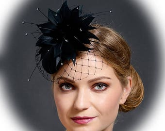 Black small pillbox hat for the weddings, funerals, church, other special occasions