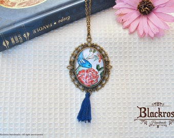 Antique Bronze Necklace-hand painted watercolor-bird and Rose