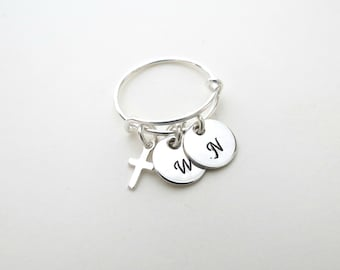 Custom Initial Ring - Personalized Ring - Kids Initial - Couples - Adjustable Ring - Mothers Ring  - Cross Charm Ring - Personalized Jewelry