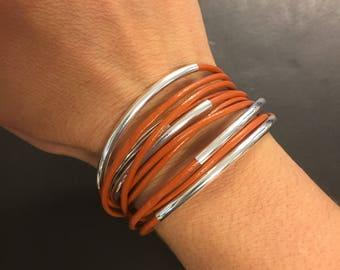 Leather Wrap Bracelet - Orange Leather Wrap