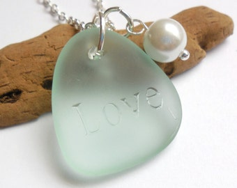 Seafoam Green Sea Glass Necklace, Sea Glass Jewelry, Beach Glass Jewelry, Beach Glass Necklace, Bridesmaid necklace  FREE US SHIPPING