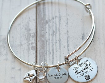 I Searched for You Personalized Wire Bangle Bracelet